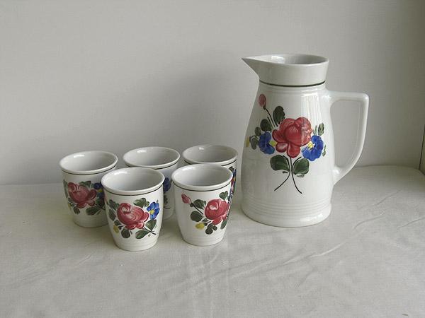 オーストリア製 リリエン ポルツェラン社 陶器  ピッチャー&タンブラー 6点セット