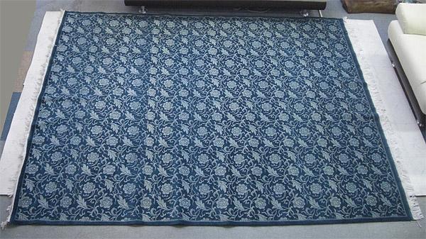 【高級!!】【送料無料!!】【即納可!!】草木染め パキスタン手織り絨毯 グリーンサイズ:202×242cm 12/24