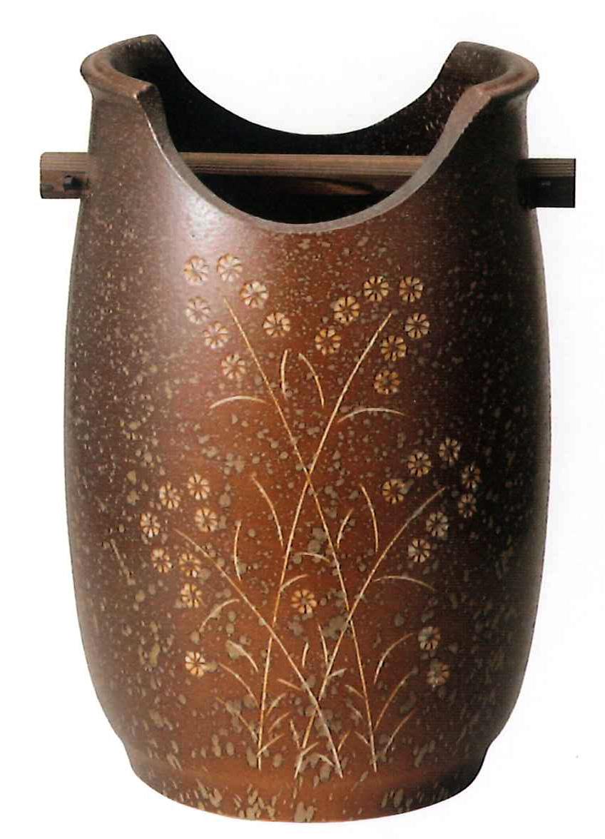 【送料無料】信楽焼 傘立て(小) サイズ:W26×H40(cm) 【北海道・沖縄・離島の送料は別途見積り】※手作り品のため、色・形・大きさ等が少々変わってしまう場合があります。シンプルモダン 和風 アジアンテイスト 伝統 工芸品 焼き物【smtb-MS】