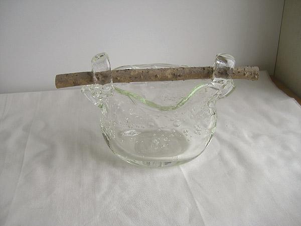 現品1品限り!日本製 手作り ガラス花瓶 取手付