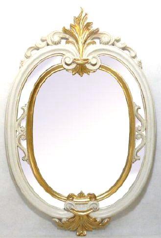【即納可!】再入荷しました♪イタリア製 壁掛けミラー ホワイト鏡 ヨーロッパ おしゃれ [インテリア/鏡/ホワイト/白/ゴールド/ラウンド]