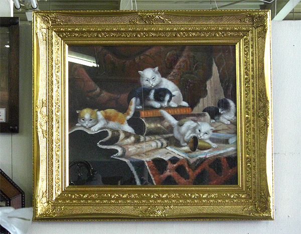 【送料無料】【即納可!!】再入荷しました♪額絵 油絵 昼下がりの猫 ガラス入り