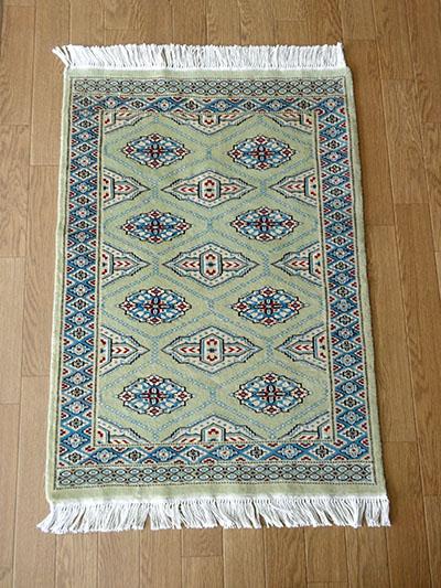 【即納可!!】【送料無料!!】新入荷しました♪最高級 パキスタン手織り 玄関マット グリーンサイズ:約92x63cm
