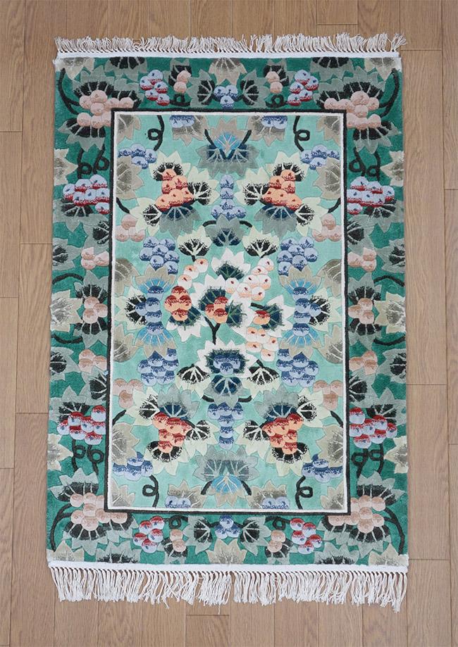 【即納可!!】【送料無料!!】新入荷しました♪最高級 手織り シルク120段 シルク玄関マット グリーン