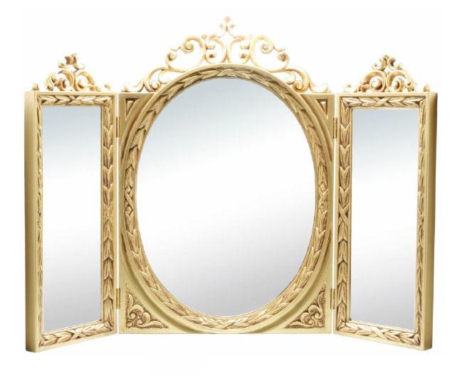 【送料無料】イタリア製 三面鏡 ゴールド