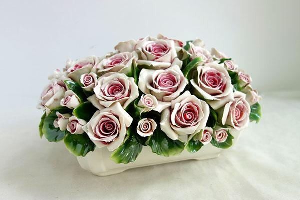 【送料無料!!】【即納可!!】再入荷しました♪イタリア製 カプティモンテ 陶器 陶花 薔薇 ローズピンク バラ ばら フラワー
