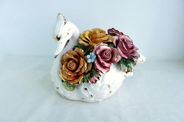 【送料無料】【即納可!!】再入荷しました♪イタリア製 陶器 陶花 薔薇 白鳥 スワン