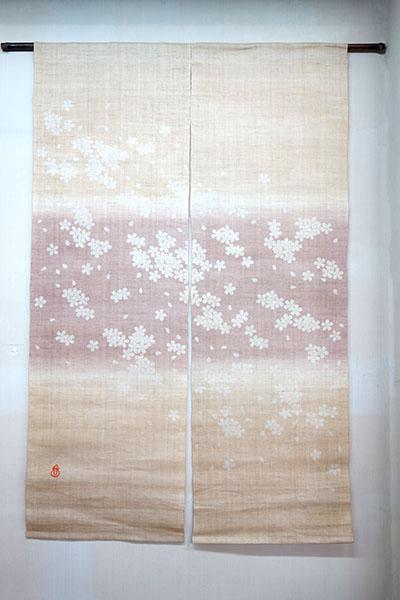 【送料無料!!】【即納可!!】日本製 京都 くろちく 麻 暖簾 のれんさくら サクラ 桜