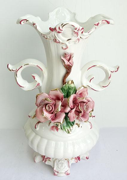 【送料無料 花瓶】【即納可! 陶器!】再入荷しました♪イタリア製 陶花 花瓶 ポーセリン ベースポット ピンクラインインテリア 置物 陶器 フラワー ポーセリン, フジゴルフ:efa6d5ec --- alecrim.art.br