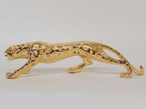 【送料無料】豹 ジャガー ゴールド 置き物 レオパード レパード レオパルドインテリア 置物