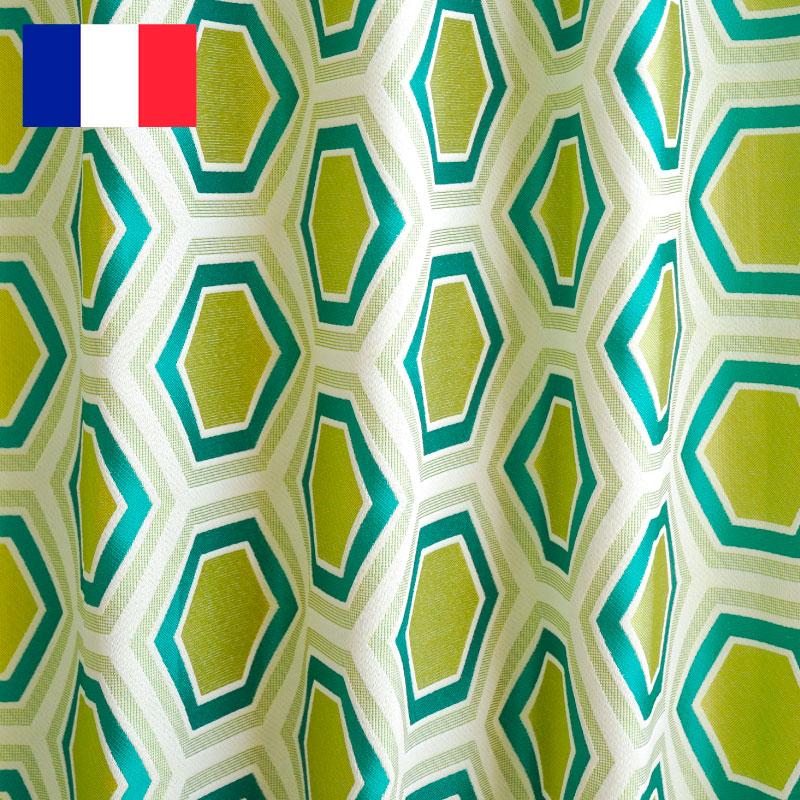 カーテン オーダーカーテン 送料無料 高級 フランス製 「 ヘキサゴン グリーン 」 巾 ~100cm×丈 ~150cm 1.5倍ヒダ新築 マンション かけ替え 掛替