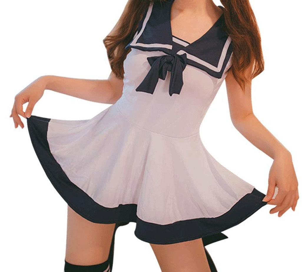 通販 激安◆ 送料無料 コスプレ メイルオーダー ミニスカート 女子高生 shirobird ホワイト 2点セット セーラー服