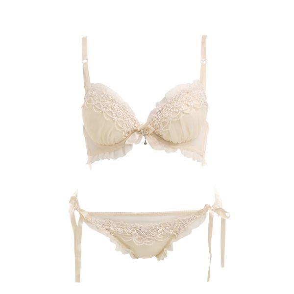 Peek-a-boo x Shirohato Chemical Lace Bra & Tie-Side Panties Set