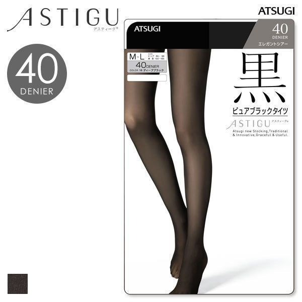 a31654c5280 Atsugi Astigu Collection 40-Denier Sheer Black Tights (Made in Japan) ...