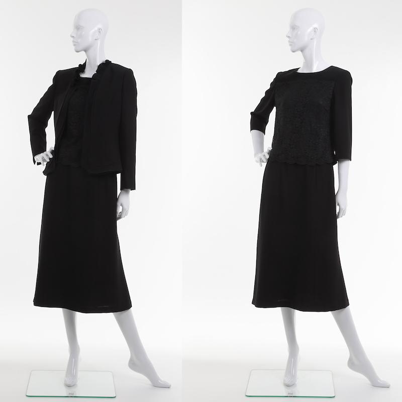 喪服 ブラックフォーマル スカートスーツ ブラウス付 3点セット ミセス~シニア