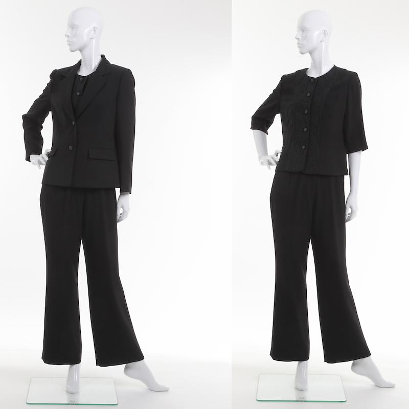 喪服 ブラックフォーマル パンツスーツ ブラウス付 3点セット ミセス~シニア