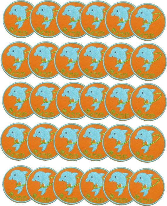 【名入れワッペンイルカ/オレンジ20枚】まとめ買い 上履きアイロン 名前 ワッペン 大 カタカナ 漢字 名前 入り 名前入り ワッペン イルカ ワッペン 幼稚園 名前 ワッペン 名札 フェルト ひらがな なまえワッペン アイロン 上履き入れ 名前