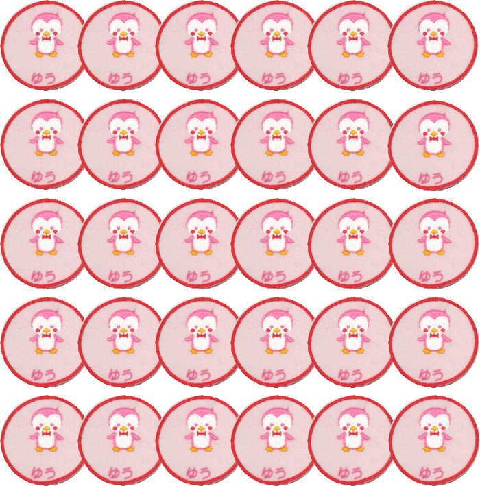 【名入れワッペンペンギン/ピンク30枚】まとめ買い 上履き アイロン 名前 ひらがな カタカナ 漢字 名前 入り 体操着 ワッペン