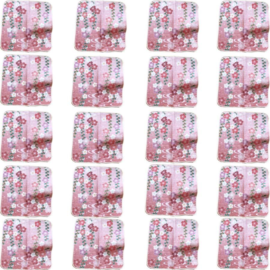 【和柄プリントガーゼタオルハンカチ/波路と枝垂桜20枚】名前入り ハンカチ 名入れ 和 還暦祝い 記念品 名入れ 祖母 名入れ 和装小物 ネーム刺繍 タオル記念品 名入れプレゼント 文字入り