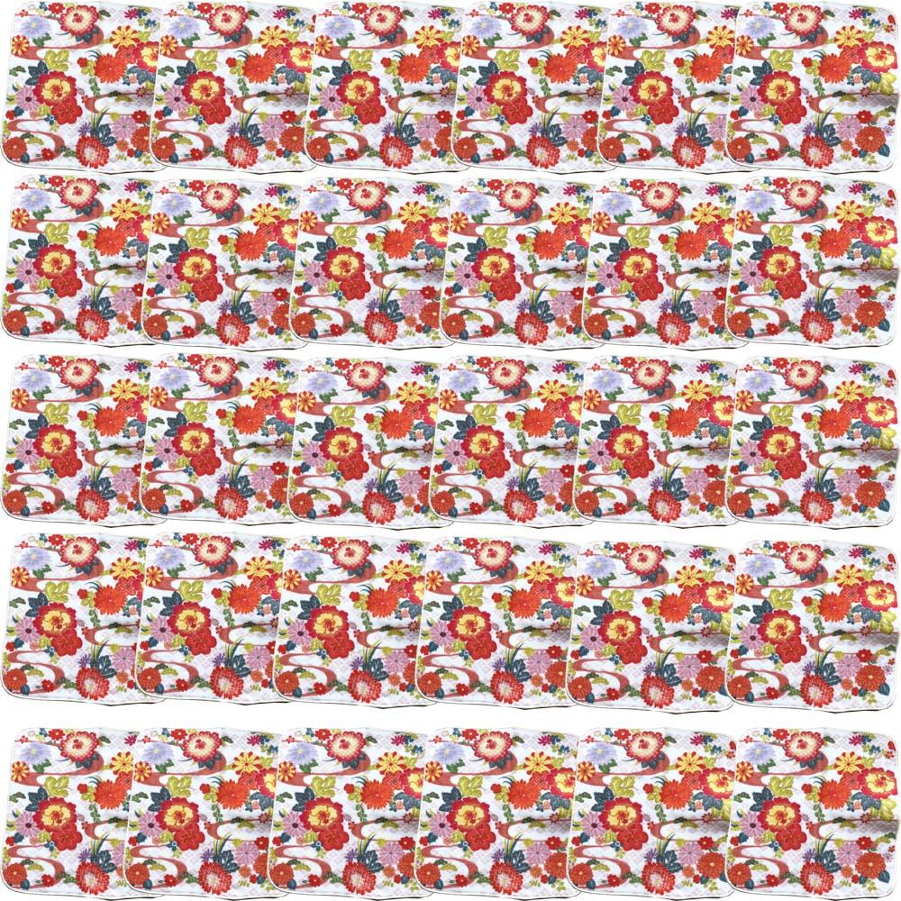【和柄プリントガーゼタオルハンカチ/菊ホワイト30枚】名前入り ハンカチ 名入れ 和 還暦祝い 記念品 名入れ 祖母 名入れ 和装小物 ネーム刺繍 タオル記念品 名入れプレゼント 文字入り