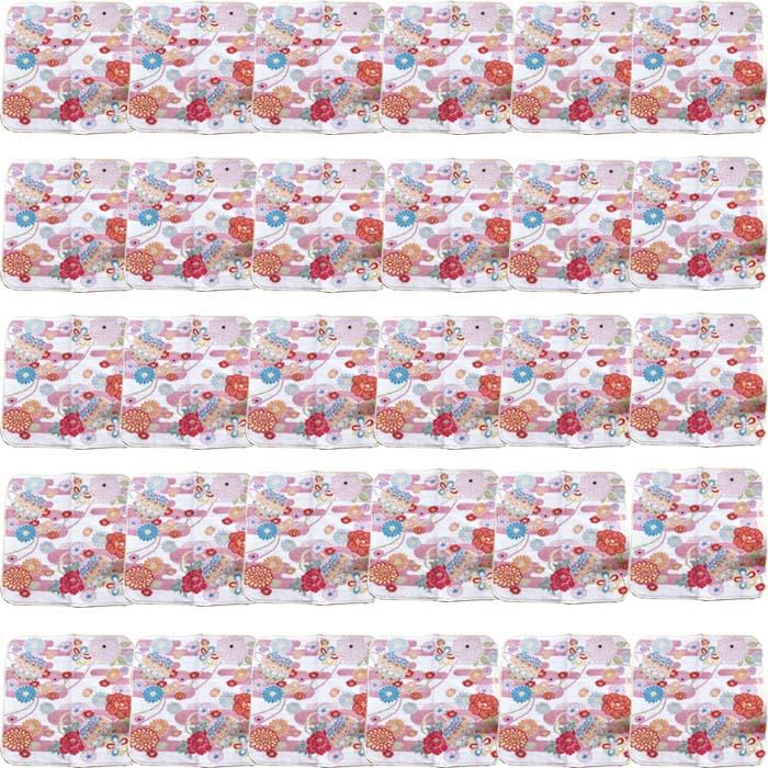 【和柄プリントガーゼタオルハンカチ/菊と牡丹30枚】名前入り ハンカチ 名入れ 和 還暦祝い 記念品 名入れ 祖母 名入れ 和装小物 ネーム刺繍 タオル記念品 名入れプレゼント 文字入り