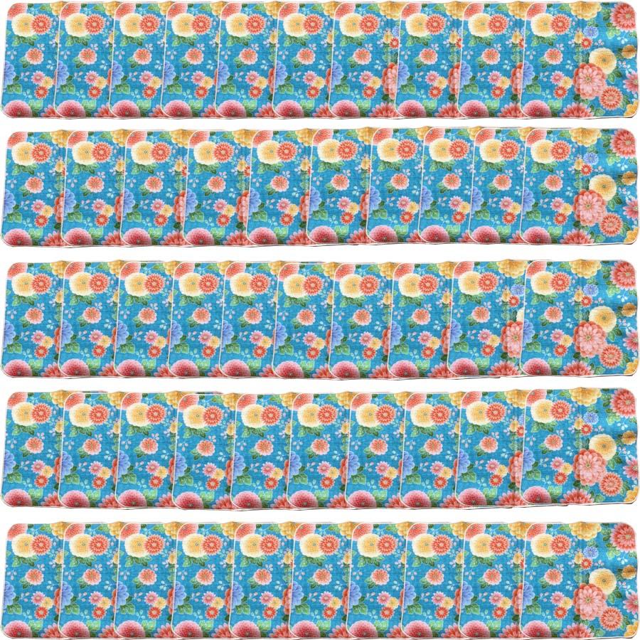 【和柄プリントガーゼタオルハンカチ/菊ブルー50枚】名前入り ハンカチ 名入れ 和 還暦祝い 記念品 名入れ 呉服店周年記念 和装小物