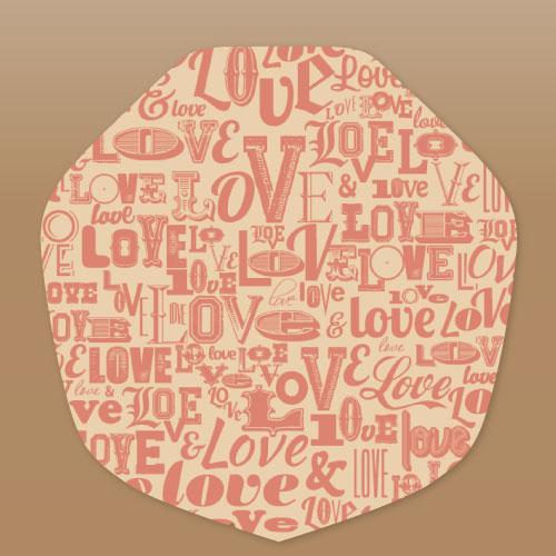 【ラミ加工】クラフトクレープ包装紙(変形)LOVE 3,000枚