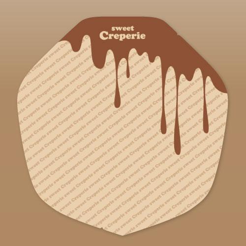 【ラミ加工】クラフトクレープ包装紙(変形)チョコレート 3,000枚