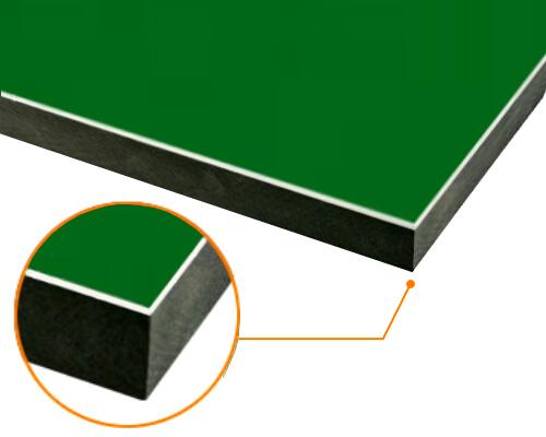 カルプボード/スーパーボード黒30t 片面貼り合せ 面材 アルミ複合板緑 3mm 910X1820mm