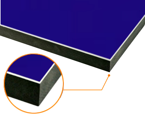 カルプボード/スーパーボード黒30t 片面貼り合せ 面材 アルミ複合板青 3mm 910X1820mm ●業務用