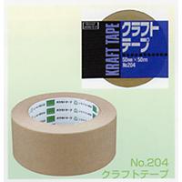 オカモト クラフトテープ No.204 クリーム巾50mm×長さ50m×厚さ0.14mm 5ケース(50巻入×5ケース)(HA)