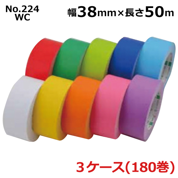 オカモト 環境思い(R) カラー No.224WC巾38mm×長さ50m×厚さ0.14mm 3ケース(60巻入×3ケース)(HA)※色選べます