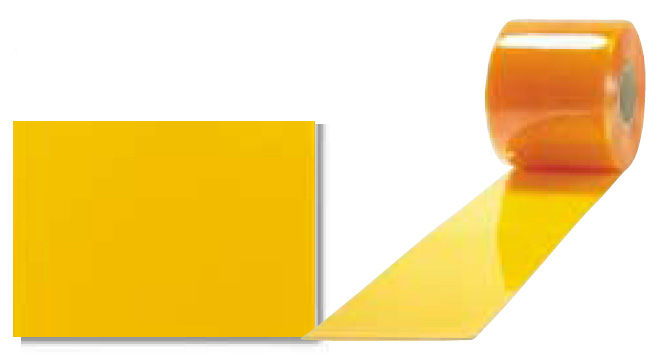 《法人様宛限定》アキレスミエール 防虫静電(オレンジフラット) ビニールカーテン(のれん式) 厚み2mm×幅200mm×長さ30M