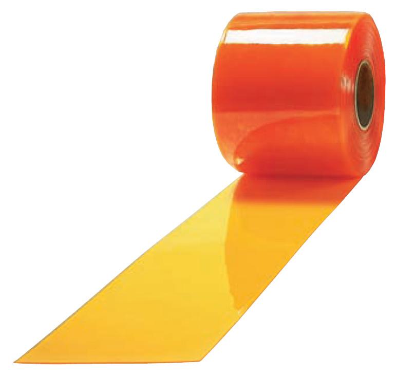 《法人様宛限定》アキレス ミエール 防炎防虫制電(透明オレンジ) のれん式ビニールカーテン(リブ無し) 厚み2mm×幅300mm×長さ30m巻