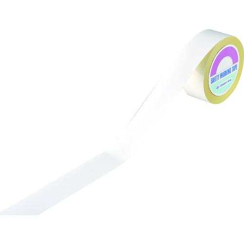 緑十字 ラインテープ(ガードテープ) 白 再剥離タイプ 50幅×100m 屋内用 《発注単位:1巻》(OB)
