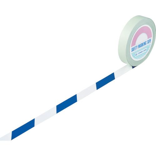 緑十字 ガードテープ(ラインテープ) 白/青(トラ柄) 25mm幅×100m 《発注単位:1巻》(OB)