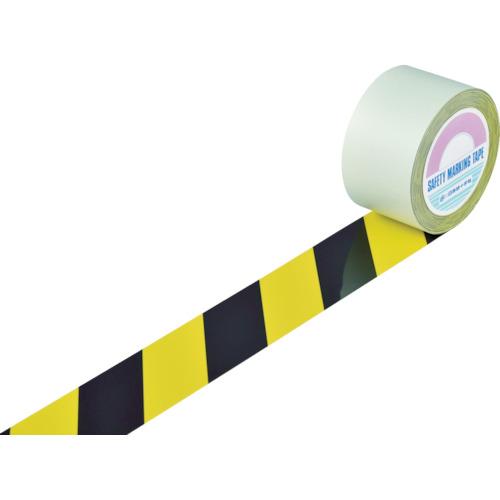 緑十字 ガードテープ(ラインテープ) 黄/黒(トラ柄) 75mm幅×20m 《発注単位:1巻》(OB)