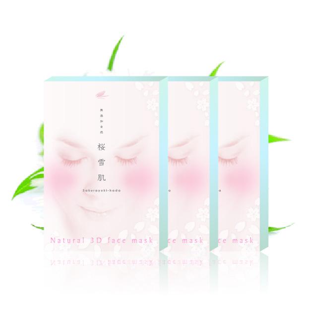 [送料無料]桜雪肌 高級で上品なナチュラル3Dフェイスマスク カモミールの香り 28ml×4枚入り 3部入り 一人で3セットまで 純正日本製