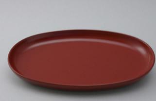 「天然抗菌素材」による安全安心食器作家と職人の技、重ね重ねて「約130工程」 ご注文後製造します(約1ヶ月) 輪島塗・取り皿(朱色布目193×148×H15)