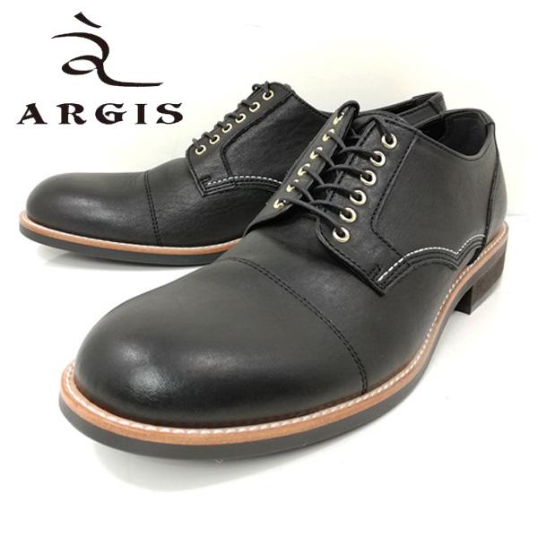アルジス ARGIS 71140 ビジネス 6アイレット ギブソン 外羽根 ブラック ストレートチップ ハトメ 本革 革靴 【メンズ】