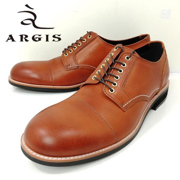 アルジス ARGIS 71140 ビジネス 6アイレット ギブソン 外羽根 ブラウン ストレートチップ ハトメ 本革 革靴 【メンズ】