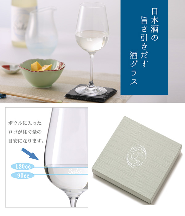 ギフトボックス 酒グラス 2脚入りギフト用セット 清酒720ml用 ※お酒は付いてません。別途ご購入下さい。
