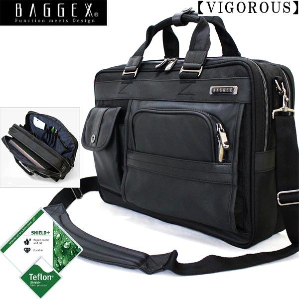 ビジネスバッグ ブリーフケース 2ルームタイプメンズ 肩掛けタイプ BAGGEX バジェックス ヴィグラス ブラック