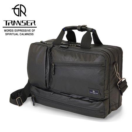 ビジネスバッグ メンズ TRANSER 軽量 ビジネスブリーフダブルルームマチ幅調整タイプ ブラック 送料無料
