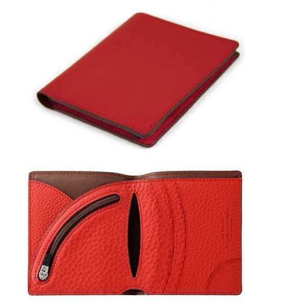 二つ折り財布 送料無料 対象カラーレッド軽量デザイン2つ折り財布ドイツ産シュリンクレザー