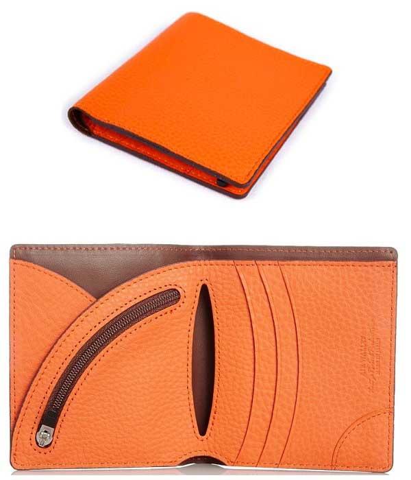 二折り財布 男性用 送料無料 対象カラーオレンジ軽量デザイン2つ折り財布ドイツ産シュリンクレザー