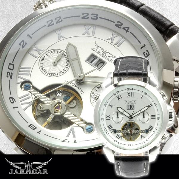 メンズ腕時計 【全針稼動の本格仕様】インナーベゼルビッグフェイス自動巻きクロノグラフ腕時計【BOX・保証書付】【SSMay15_point20】【20P30May15】