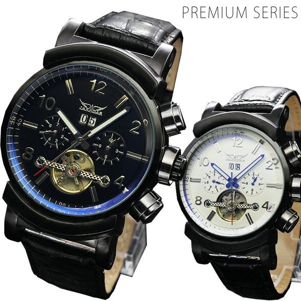 メンズ腕時計 【全針稼動の本格仕様!】ミッドナイトビッグフェイス自動巻き腕時計