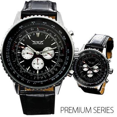 メンズ腕時計 全針稼動の本格仕様ビッグフェイス・自動巻きクロノグラフ腕時計 保証書付