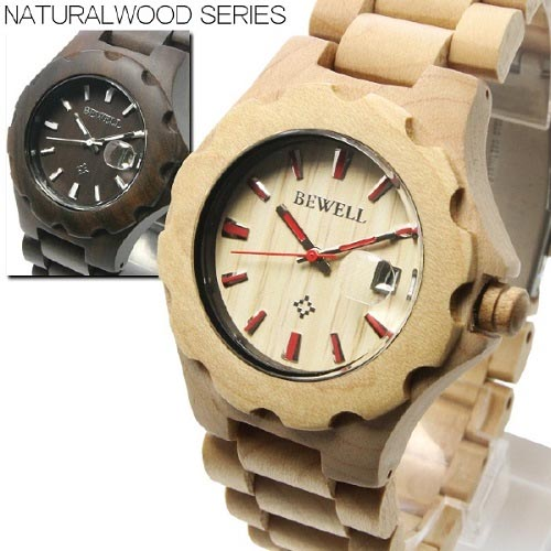 腕時計 送料無料 CITIZEN MIYOTAムーブメント仕様 カレンダー機能付きウッド腕時計フェイス&ベルトにナチュラル感満点の天然木を使用したウッドウォッチ